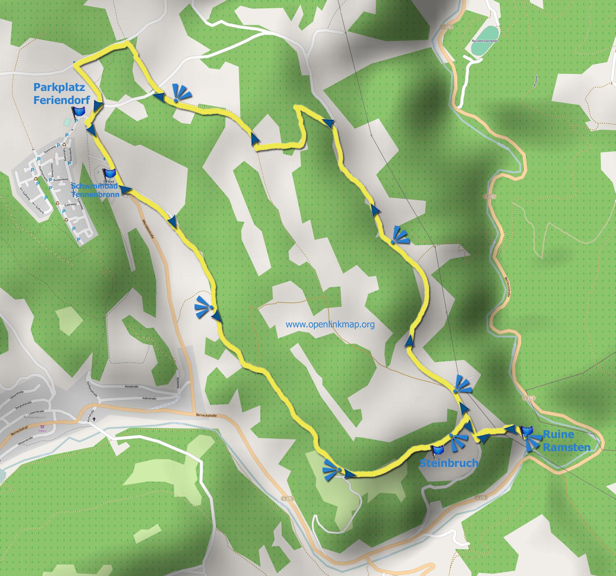 Wanderkarte Ramstein-Runde Tennenbronn