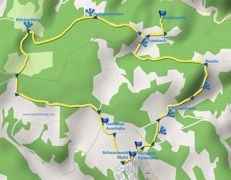 Wanderkarte Bergkapellen-Runde Tennenbronn