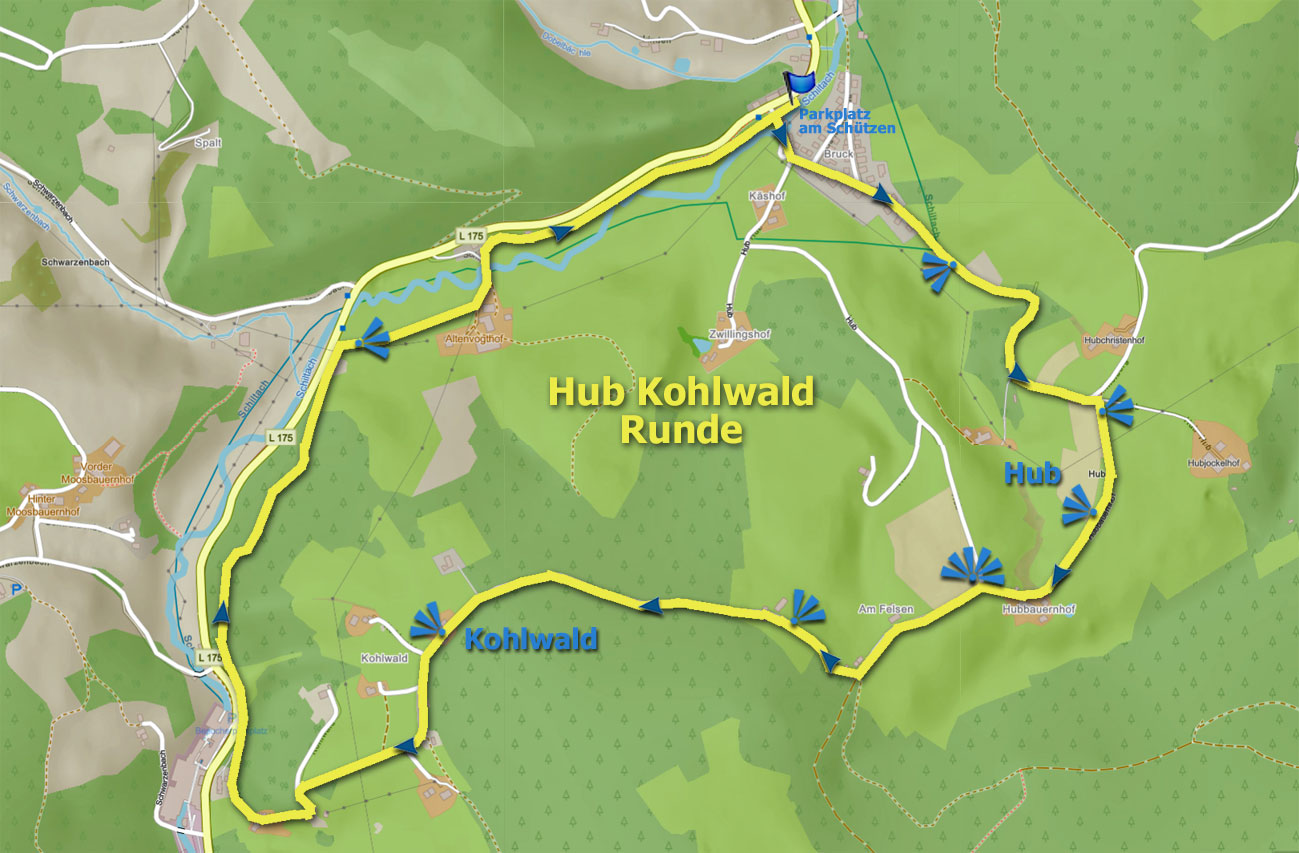 Karte Hub Kohlwald Runde
