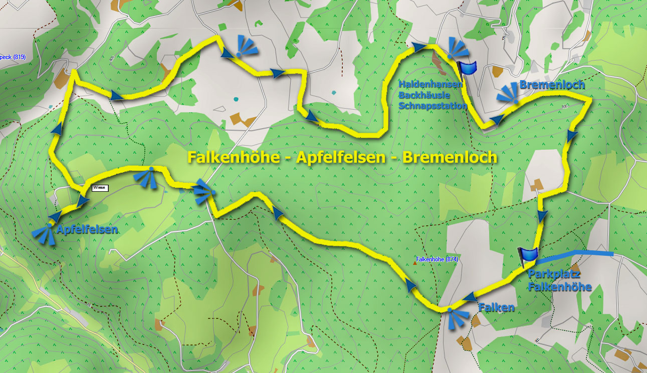 Karte Track Falkenhöhe - Apfelfelsen - Bremenloch